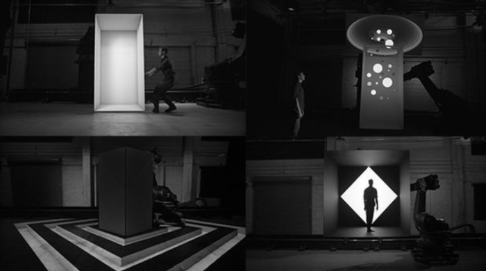 Industrial robots star in projection mapping video